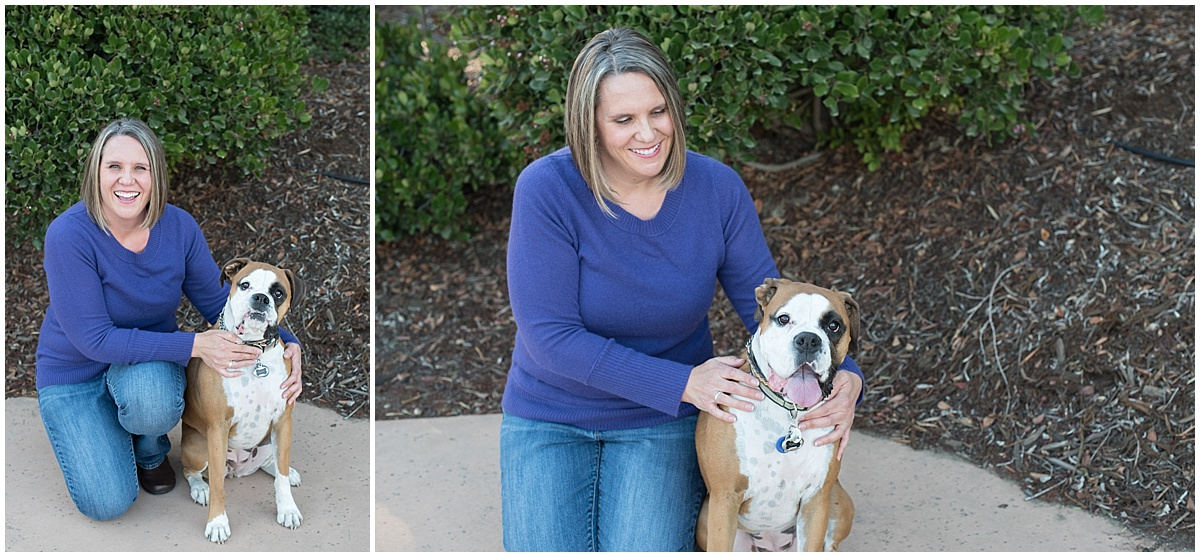 Amy and Toast the boxer at Talley Vineyards in Arroyo Grande California