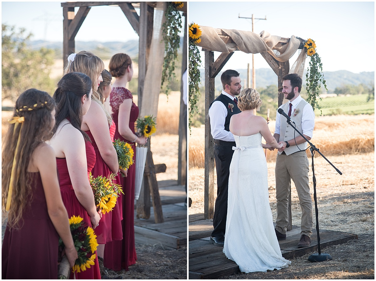 Summer Family Ranch Wedding in Templeton, California. Large family. Sunflowers and red roses.