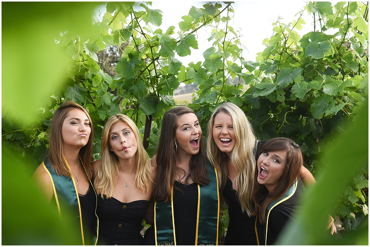 Cal Poly Senior Grad Group Session at Talley Vineyards with champaign and fun