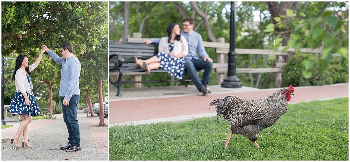 Arroyo Grande Village Downtown engagement session with roosters, greenery, and laughter