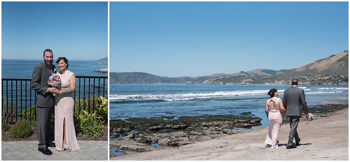 Pismo Beach Intimate Beach Wedding with pinks and navy , Central Coast of California