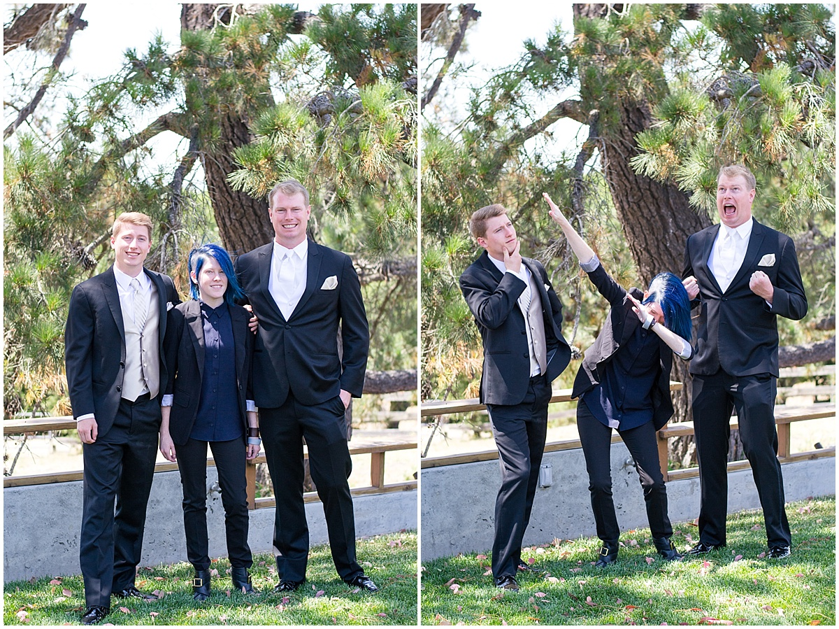 Loma Grande Ranch Summer Wedding in San Luis Obispo, California with black suits, pinks, champagne