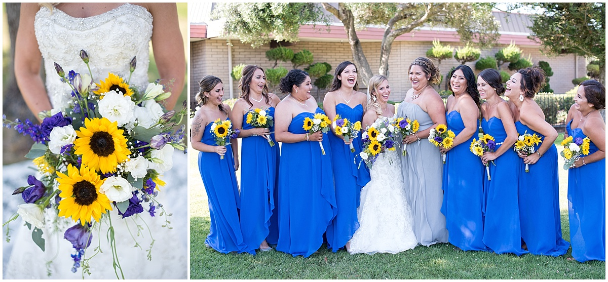 Santa Maria Elks Lodge Wedding, Royal Blue, White, sunflowers