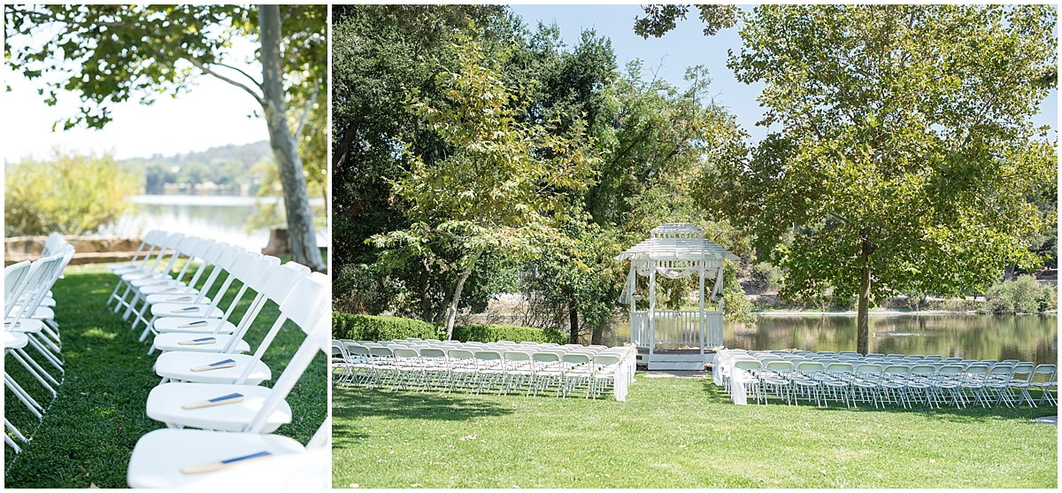 Pavilion on the Lake Atascadero, CA navy and pink wedding