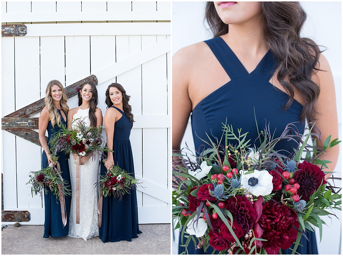 Sangria Splash into Fall Styled Shoot at The White Barn in Edna Valley, San Luis Obispo, California with berry hues and navy