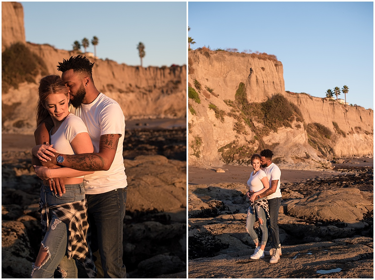 Honeymoon Photos during their Vacation at Shell Beach, California during that golden sunset