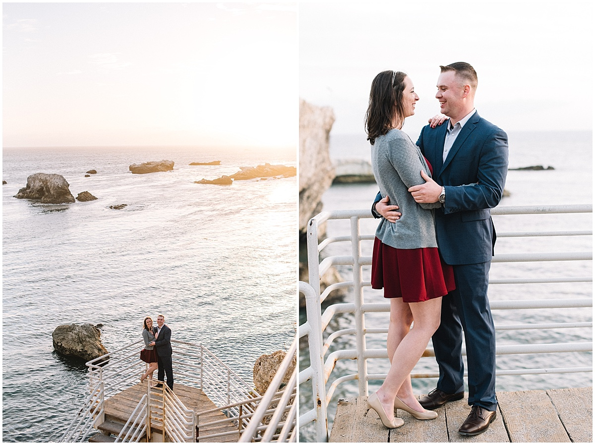 Proposal Session at Margo Dodd State Park in Pismo Beach, California with navy and burgundy