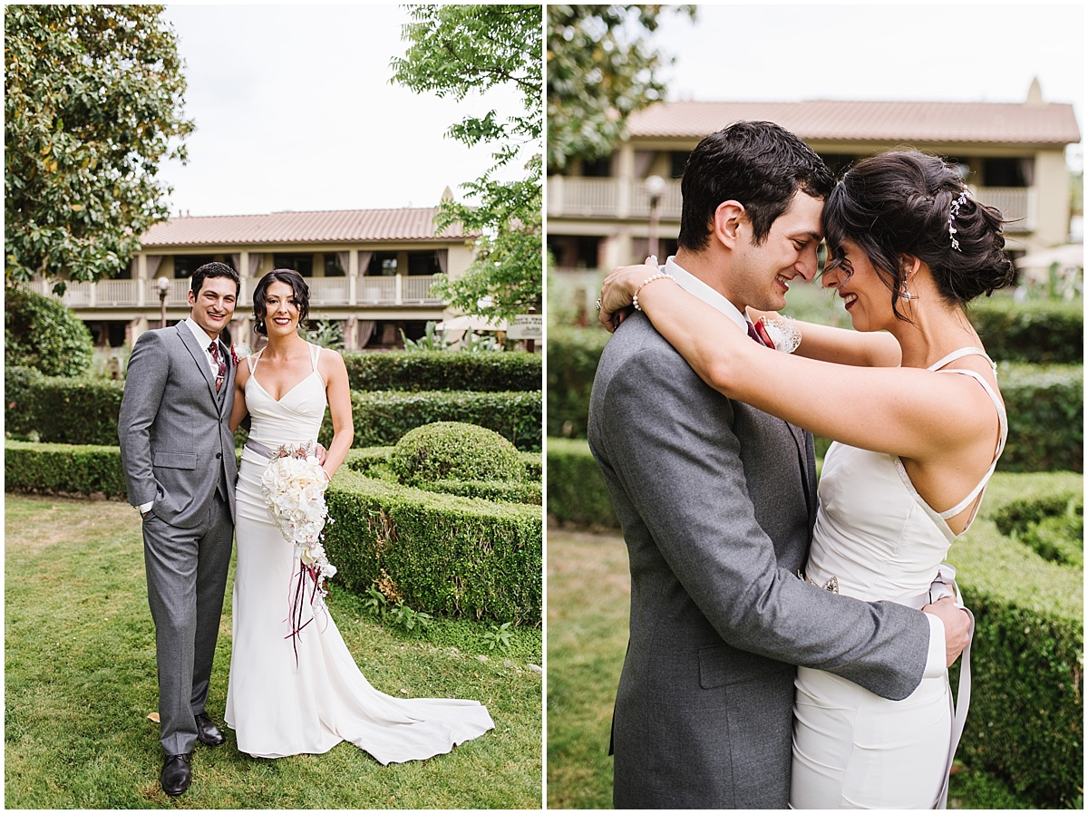 Paso Robles Inn Spring Garden Wedding with burgundy and florals