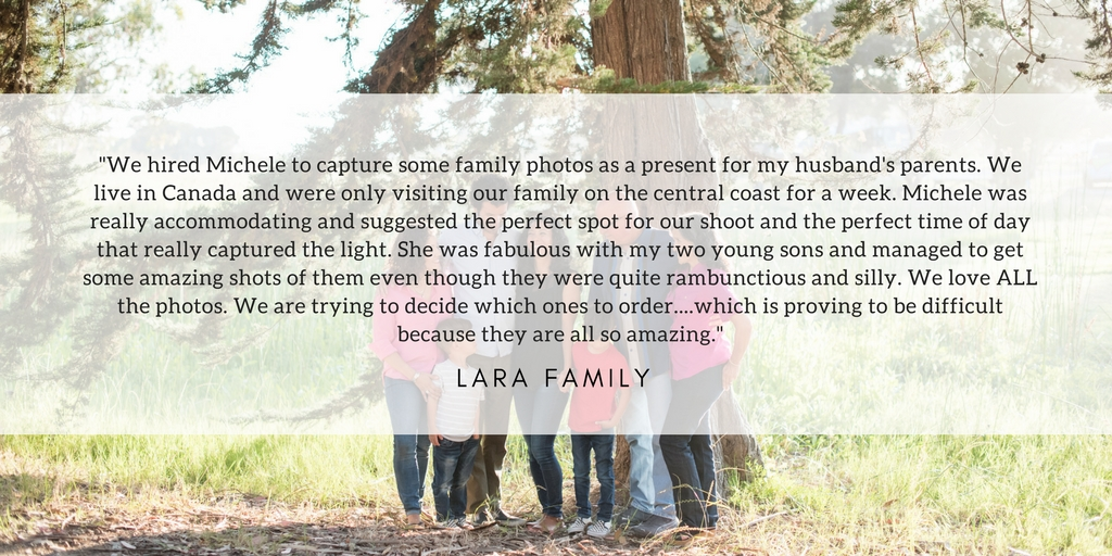 Extended Family testimonial for Nikkels Photography family session at Monarch Butterfly Grove